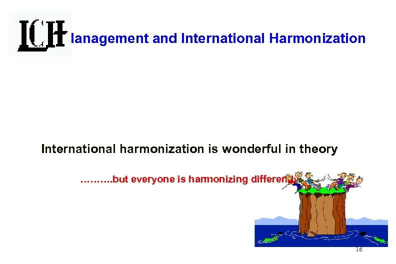 Risk Management and International Harmonization International harmonization is wonderful in theory ………. but everyone