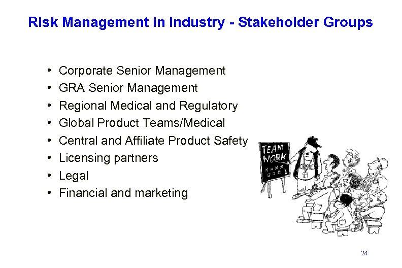 Risk Management in Industry - Stakeholder Groups • • Corporate Senior Management GRA Senior