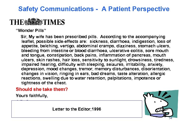 """Safety Communications - A Patient Perspective """"Wonder Pills"""" Sir, My wife has been prescribed"""
