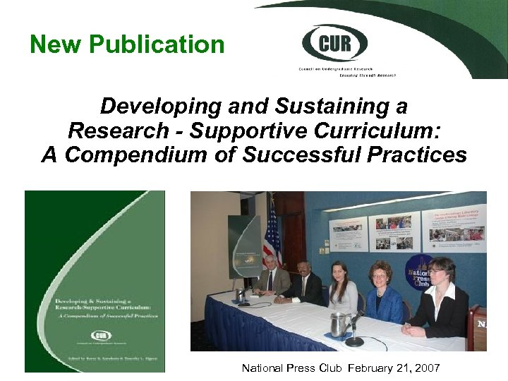 New Publication Developing and Sustaining a Research - Supportive Curriculum: A Compendium of Successful