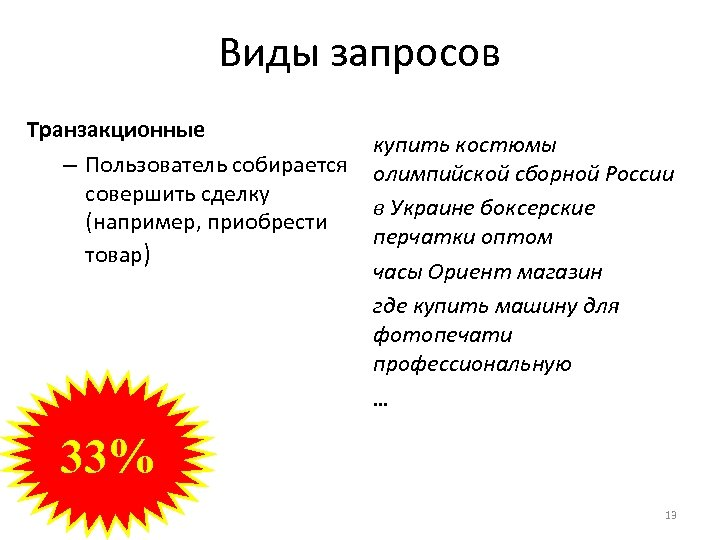 Виды запросов Транзакционные – Пользователь собирается совершить сделку (например, приобрести товар) купить костюмы олимпийской