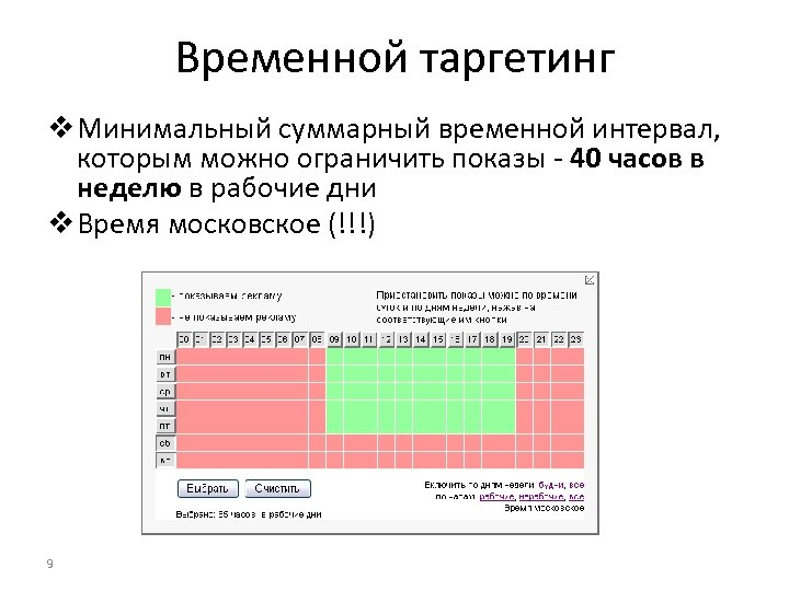 Временной таргетинг v Минимальный суммарный временной интервал, которым можно ограничить показы - 40 часов