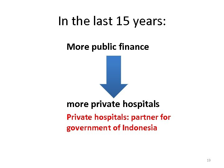 In the last 15 years: More public finance more private hospitals Private hospitals: partner