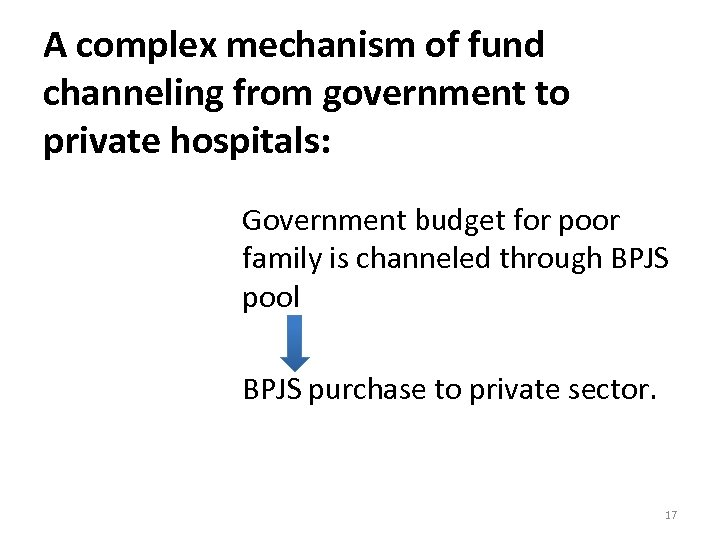 A complex mechanism of fund channeling from government to private hospitals: Government budget for