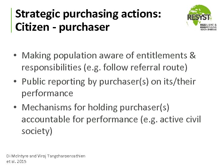 Strategic purchasing actions: Citizen - purchaser • Making population aware of entitlements & responsibilities