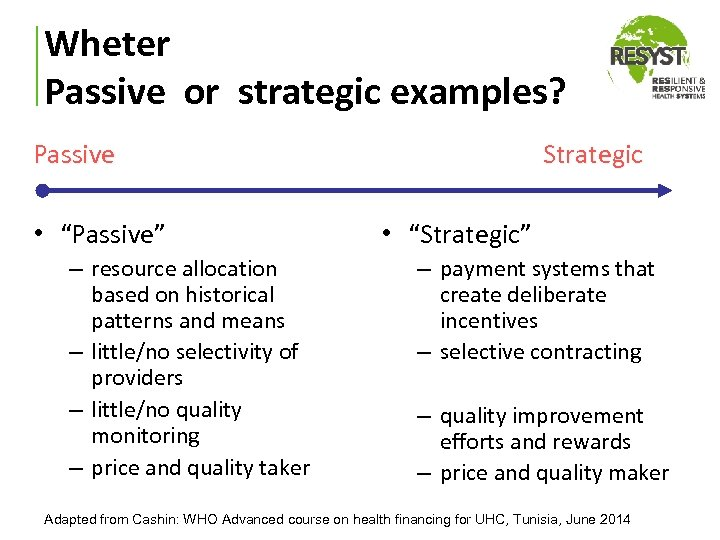 """Wheter Passive or strategic examples? Passive • """"Passive"""" – resource allocation based on historical"""