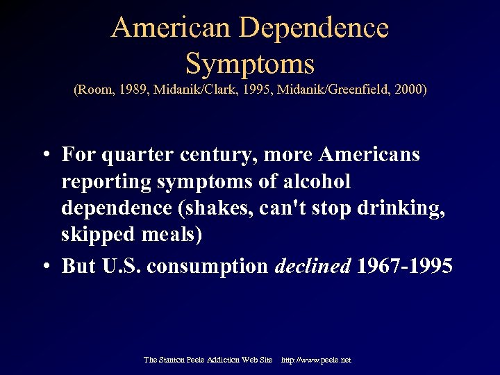 American Dependence Symptoms (Room, 1989, Midanik/Clark, 1995, Midanik/Greenfield, 2000) • For quarter century, more
