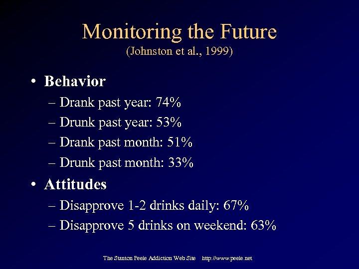 Monitoring the Future (Johnston et al. , 1999) • Behavior – Drank past year: