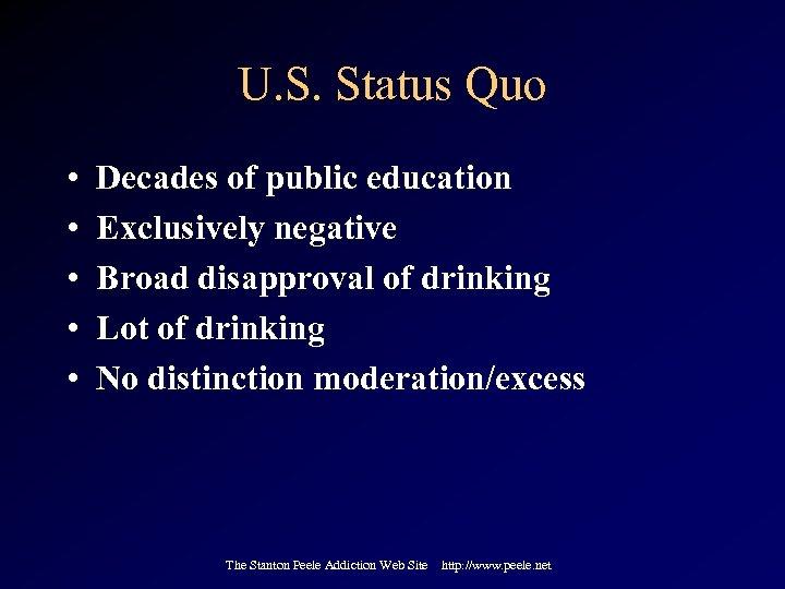 U. S. Status Quo • • • Decades of public education Exclusively negative Broad