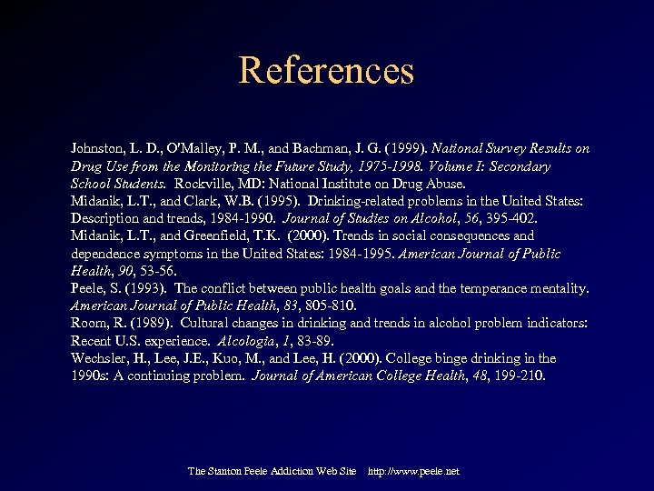References Johnston, L. D. , O'Malley, P. M. , and Bachman, J. G. (1999).