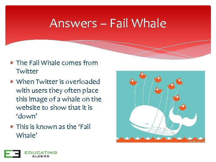 Answers – Fail Whale The Fail Whale comes from Twitter When Twitter is overloaded