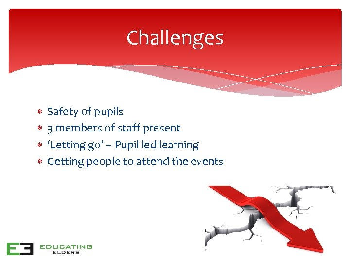 Challenges Safety of pupils 3 members of staff present 'Letting go' – Pupil led