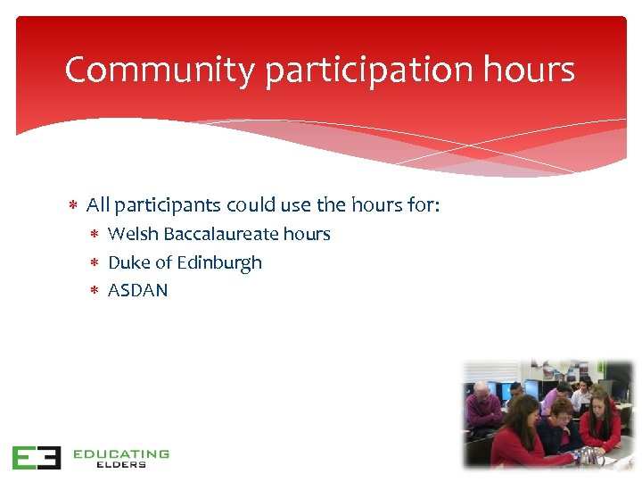 Community participation hours All participants could use the hours for: Welsh Baccalaureate hours Duke