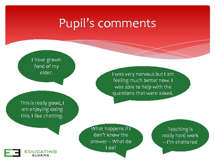 Pupil's comments I have grown fond of my elder. I was very nervous but