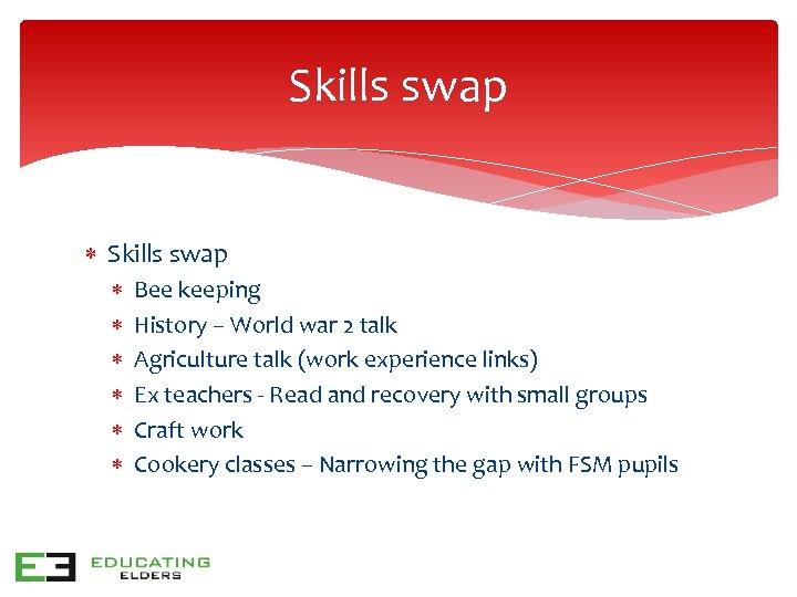 Skills swap Bee keeping History – World war 2 talk Agriculture talk (work experience