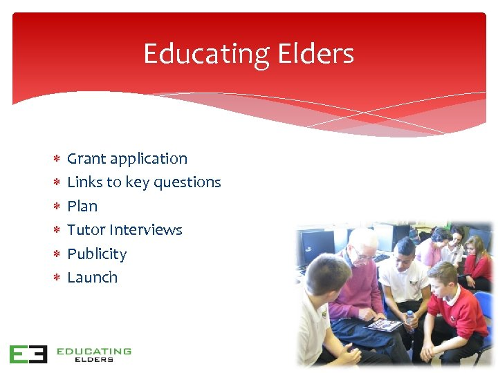Educating Elders Grant application Links to key questions Plan Tutor Interviews Publicity Launch