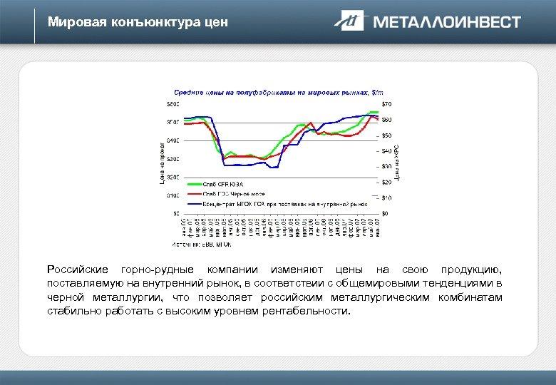 Мировая конъюнктура цен Российские горно-рудные компании изменяют цены на свою продукцию, поставляемую на внутренний