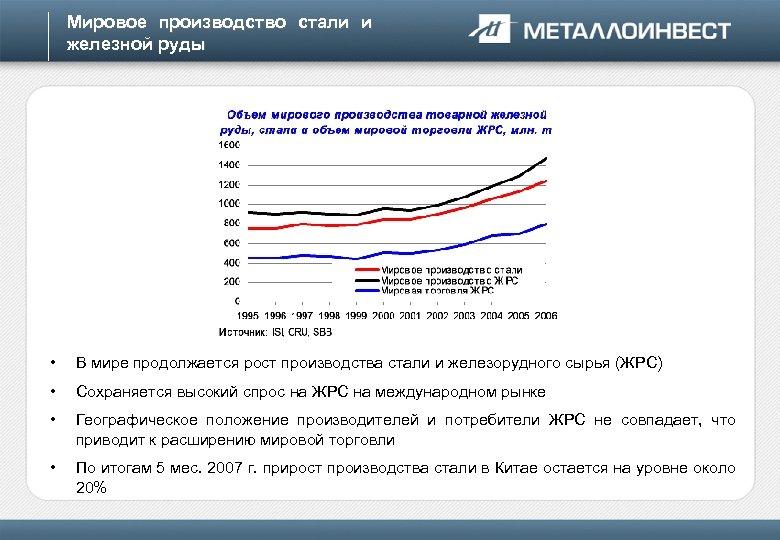 Мировое производство стали и железной руды • В мире продолжается рост производства стали и