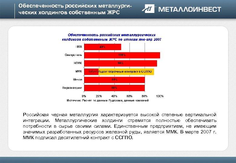 Обеспеченность российских металлургических холдингов собственным ЖРС Российская черная металлургия характеризуется высокой степенью вертикальной интеграции.