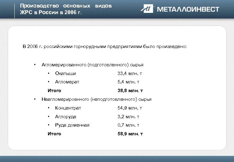 Производство основных видов ЖРС в России в 2006 г. В 2006 г. российскими горнорудными