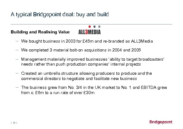 A typical Bridgepoint deal: buy and build Building and Realising Value – We bought