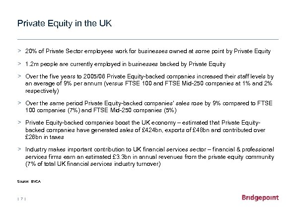 Private Equity in the UK > 20% of Private Sector employees work for businesses