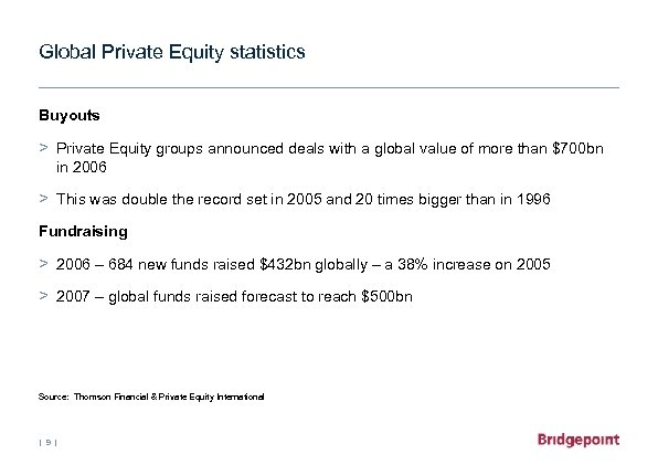 Global Private Equity statistics Buyouts > Private Equity groups announced deals with a global