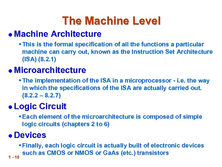 The Machine Level l Machine Architecture w This is the formal specification of all
