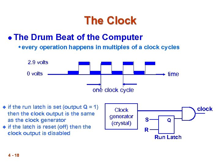 The Clock l The Drum Beat of the Computer w every operation happens in