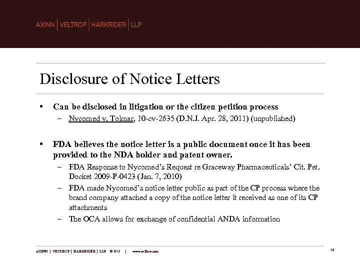 Disclosure of Notice Letters • Can be disclosed in litigation or the citizen petition