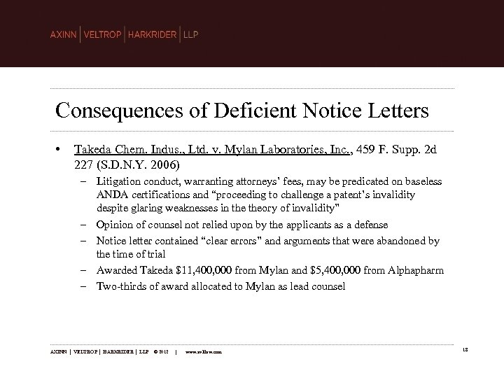 Consequences of Deficient Notice Letters • Takeda Chem. Indus. , Ltd. v. Mylan Laboratories,