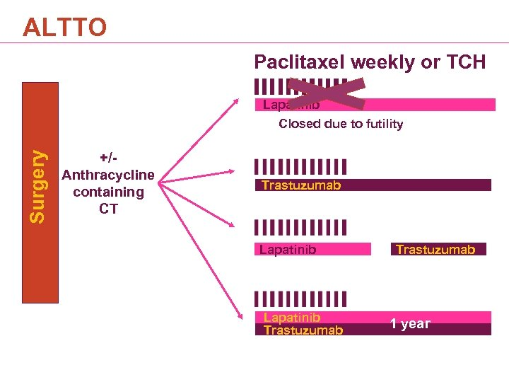 ALTTO Paclitaxel weekly or TCH Surgery Lapatinib Closed due to futility +/- Anthracycline containing
