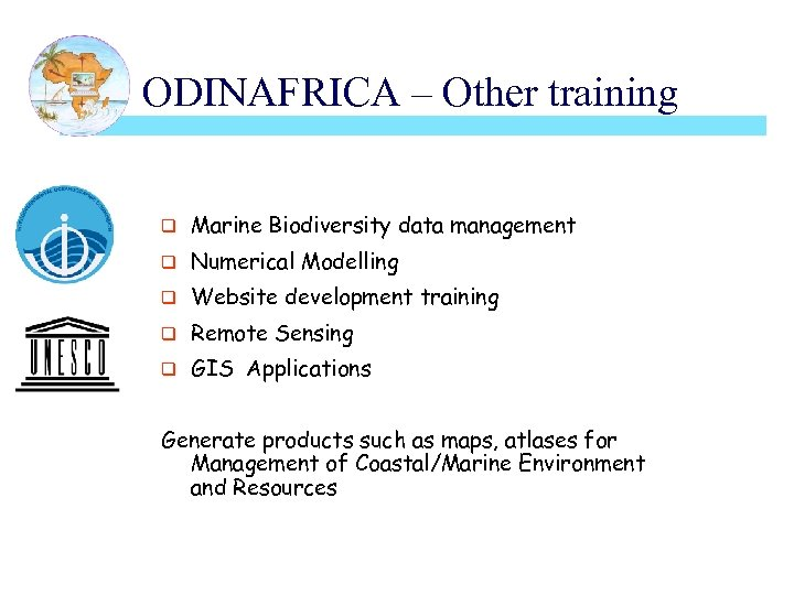 ODINAFRICA – Other training q Marine Biodiversity data management q Numerical Modelling q Website