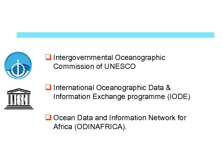 q Intergovernmental Oceanographic Commission of UNESCO q International Oceanographic Data & Information Exchange programme