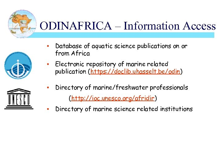 ODINAFRICA – Information Access § Database of aquatic science publications on or from Africa