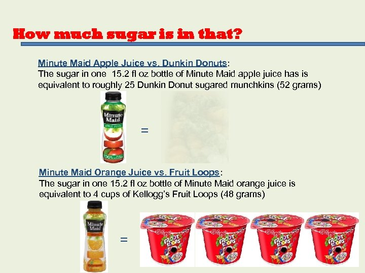 How much sugar is in that? Minute Maid Apple Juice vs. Dunkin Donuts: The