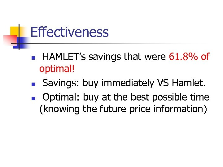 Effectiveness n n n HAMLET's savings that were 61. 8% of optimal! Savings: buy