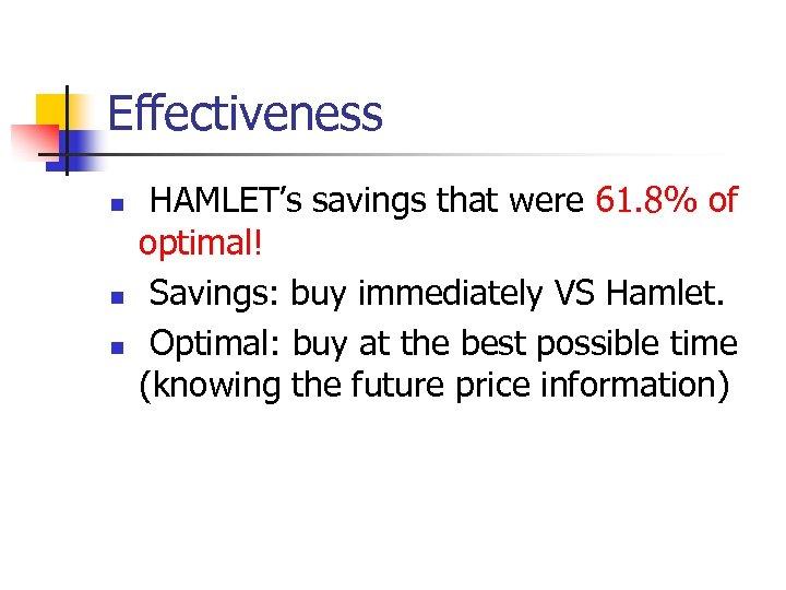 Effectiveness n n n HAMLET's savings that were 61. 8% of optimal! Savings: buy