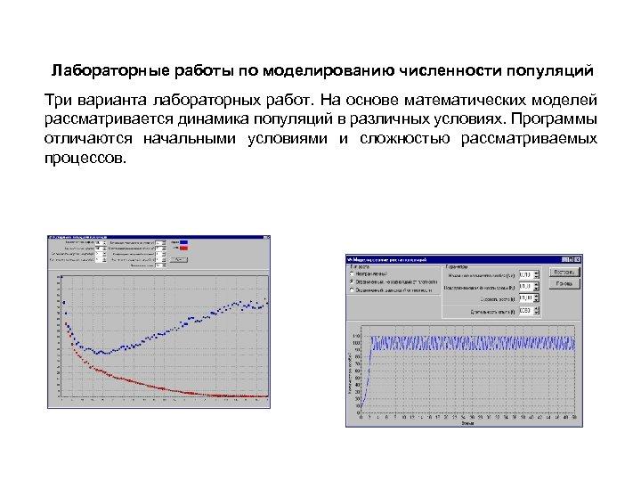 Лабораторные работы по моделированию численности популяций Три варианта лабораторных работ. На основе математических моделей