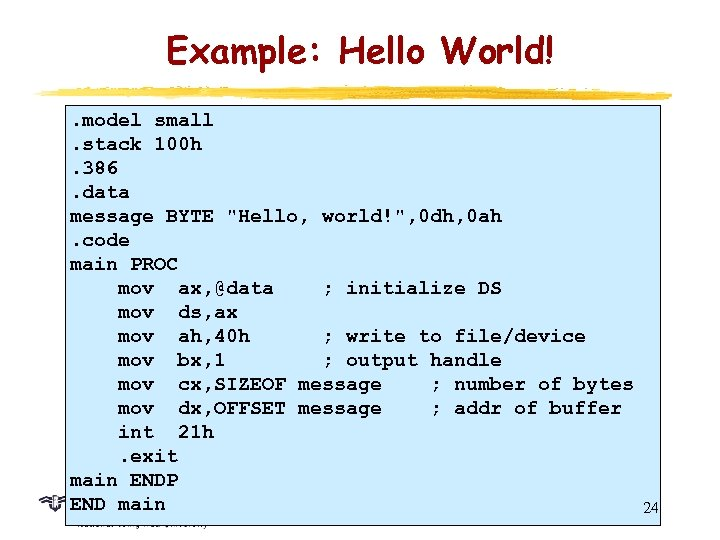 Example: Hello World!. model small. stack 100 h. 386. data message BYTE