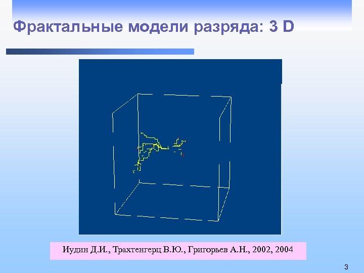 Фрактальные модели разряда: 3 D Иудин Д. И. , Трахтенгерц В. Ю. , Григорьев