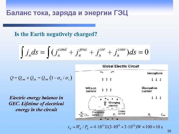 Баланс тока, заряда и энергии ГЭЦ Is the Earth negatively charged? Electric energy balance