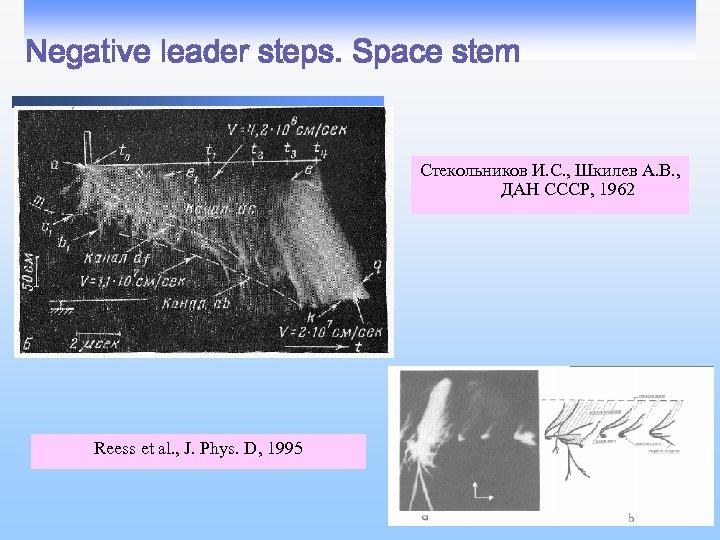 Negative leader steps. Space stem Стекольников И. С. , Шкилев А. В. , ДАН