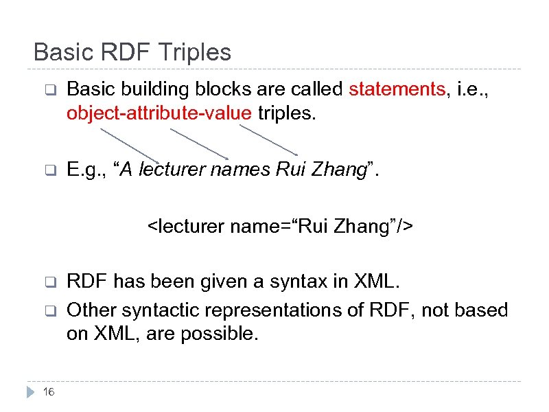 Basic RDF Triples q Basic building blocks are called statements, i. e. , object-attribute-value