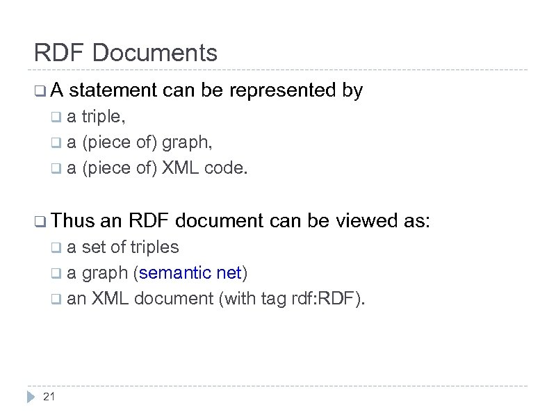 RDF Documents q. A statement can be represented by qa triple, q a (piece