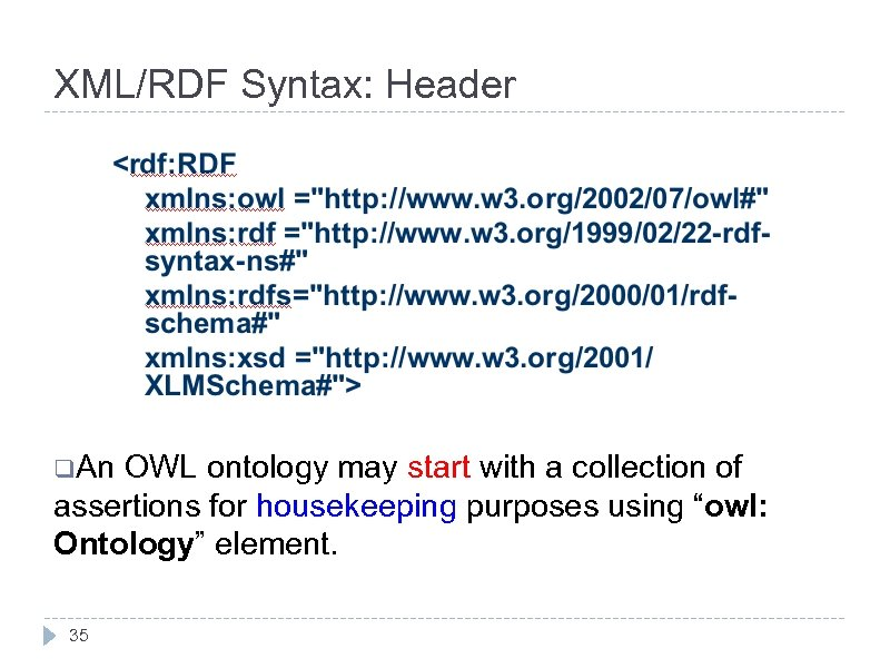 XML/RDF Syntax: Header q. An OWL ontology may start with a collection of assertions