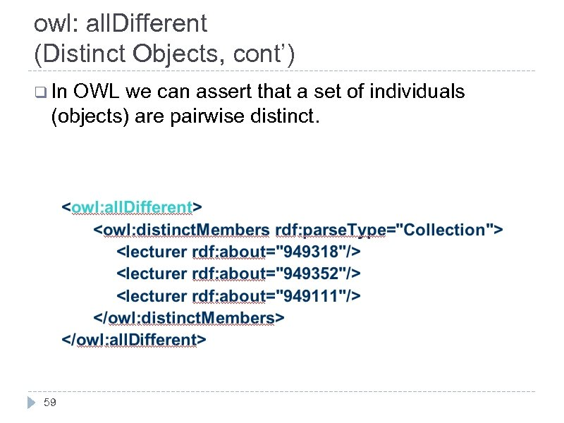 owl: all. Different (Distinct Objects, cont') q In OWL we can assert that a