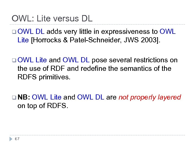 OWL: Lite versus DL q OWL DL adds very little in expressiveness to OWL