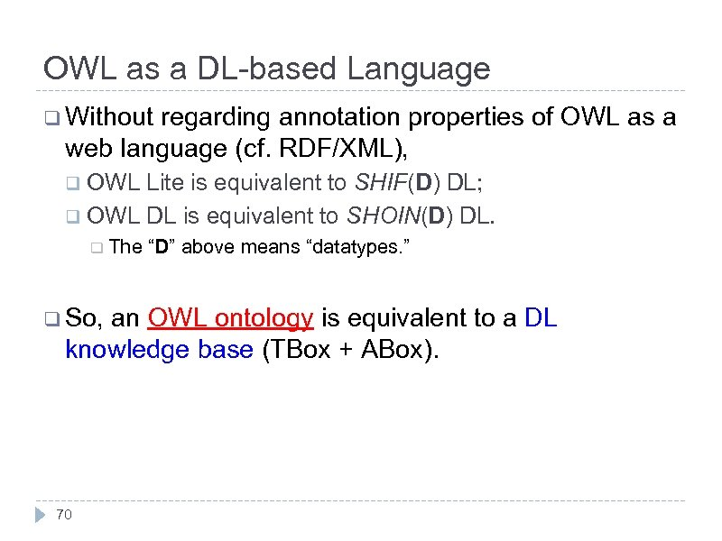 OWL as a DL-based Language q Without regarding annotation properties of OWL as a