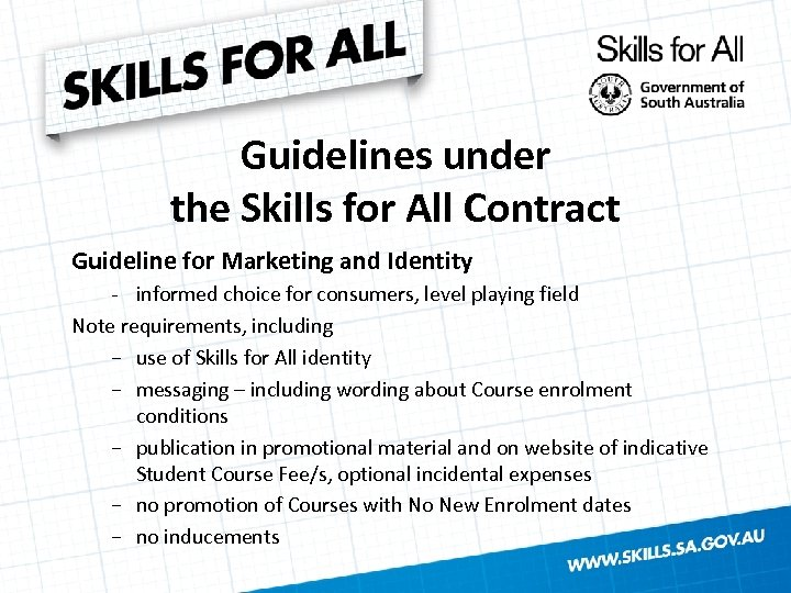 Guidelines under the Skills for All Contract Guideline for Marketing and Identity - informed